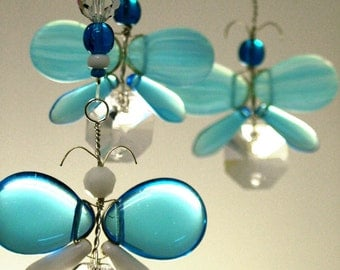 Childrens Hanging Mobile Butterfly Xmas Decor Blue Butterfly Mobile Swarovski Crystal Suncatcher Glass Mobile Garland Boy Baby Mobile Gift