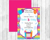 Bubbles Balloons Bounce House Birthday Party Invitation or Evite - Bubble Invitation - Bounce House Invitation - Balloon Invitation