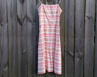 XS Extra Small Vintage 80s Dave & Johnny Pastel Pink Striped Spaghetti Strap Pretty in Pink Party Prom Dress Sundress
