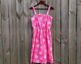 M Medium Vintage 70s 80s Sears Label Polyester Cotton Pink White Eyelet Trim Floral Print Summer Dress Sundress