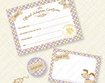 Purple Puppy Adoption Certificate Printable Kit for Birthday Party Paw pawty favor favors plaid woof bone instant download pdf digital