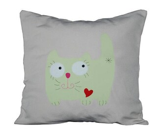 "18""x18""  'Happy Green Kitty'  Pillow COVER"