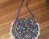 SALE / Vintage 1970's beaded Fringe Bag / retro Beaded Purse / 1970's Accessories