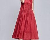 2015 Red Linen Dress / Long Linen Dress in Red / Maxi Bridesmaid Dress, Maxi Dress, Little Red Dress, Cocktail Dress, Flared Dress, high low