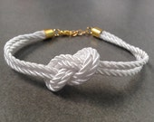 Bridesmaid gift - Small White silk Knot Bracelet - tie the knot bracelet, nautical bracelet, wedding gift, baby shower gift, beach wedding