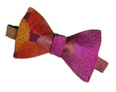 Mens Silk Bow Tie - LAST ONE! Handmade in England - Floral Bowtie - Large Flowers in Purple, Orange, Gold and Turquoise - 'Dahlia'