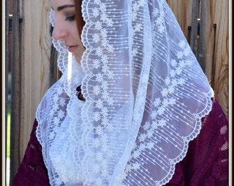 Women's Chapel Veil Headcoverings EVM11 - Eternity Veil -The Infinity Veil Original, in Cream Embroidered Lace