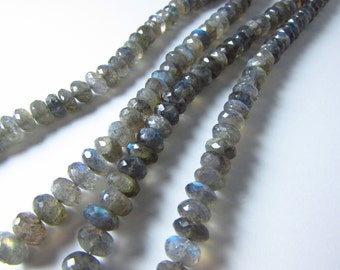 Labradorite Faceted Rounded Rondelle Beads 6mm