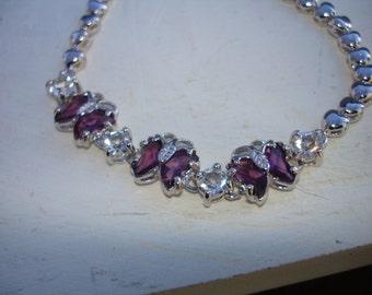 Butterfly bracelet, purple bracelet, vintage bracelet, amethyst bracelet, butterfly jewelry, gift for her, womens jewelry, vintage jewelry