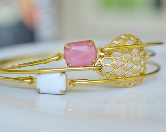 Passion Bangle Bracelet Set- Gold Bangles- White Stone Bracelet- Rose Pink Bangle- Filigree Bangle- Bridesmaids Gifts- Bangle Bracelet Sets