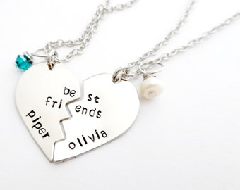 Best Friends Necklace, Handstamped Jewelry, 2 Necklaces, Birthstones, Little Girls Necklace, Hand Stamped Jewelry