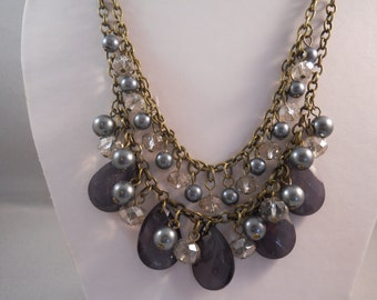 2 Row Bronze Tone Chain Bib Necklace with Gray Teardrop Beads, Gray Beads and Crystaled Beads