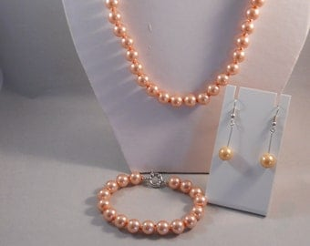 10 mm Peach Pearl Necklace, Bracelet and Earrings Set