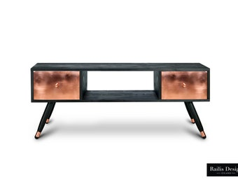 TV Table Krafla. Entertainment unit. Solid wood Furniture. Black Furniture. Midcentury Modern TV Stand. Copper Furniture. Handmade furniture