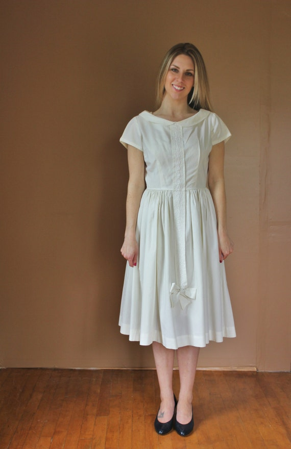 1950s simple wedding dress fall sale beautiful cotton for Simple cotton wedding dress