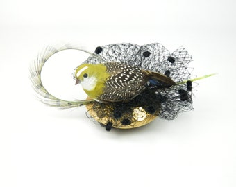Fascinator Headpiece with Feathered Bird, Gold Vintage Buttons and Veil