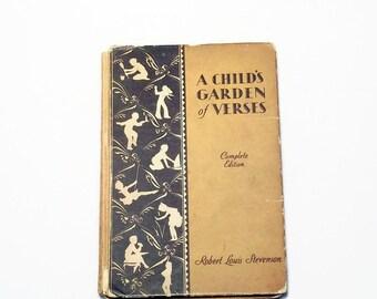A Child's Garden of Verses - Vintage Children's Poetry Book - Robert Louis Stevenson - Classic Poems for Kids - Black and White Illustration