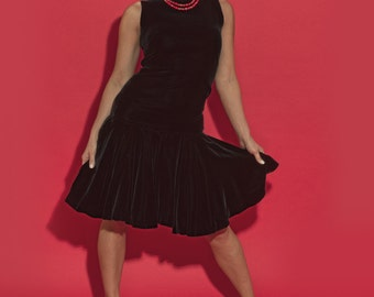 1960's Dress - Anne Klein - Junior Sophisticates - Vintage Designer - 60's Party Dress - Black Velvet Dress - LBD - Little Black Dress
