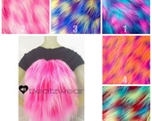 MADE TO ORDER backpack faux fur drawstring bag shaggy tie dye choose your color furry rave bag festival purse