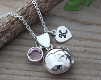 Locket, Sterling Silver Locket Necklace Personalized with custom charms, Small Round Locket Necklace, Child Locket- Girls Locket-  R-1