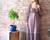 1960s Peasant Dress - Hippie - Floral Print - Maxi - Long - Sheer - Boho - Tiered Skirt - Hippie Wedding - Empire Waist