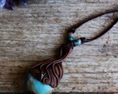 Chrysocolla Necklace with Garnet. Hand Sculpted Clay by TRaewyn.. Clay with Healing Gemstone and Crystal Jewelry.