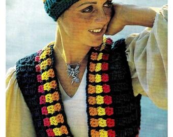 Vintage 70's Crochet Hippie Vest & Hat - PDF Pattern - Instant Download