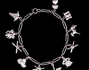 Sterling Charm Bracelet Militaria Sweetheart ORIGINAL 1940s U.S. Wwii
