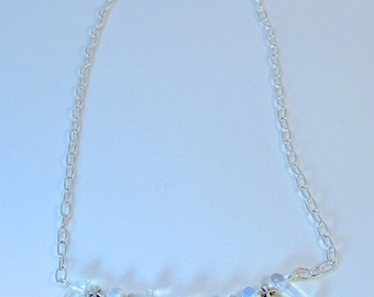 "OPAL ""FLEUR CROSS"" Silver Necklace - Square Cross Silver plate and Opal Necklace"