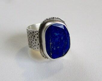 Lapis Sterling Silver Ring - Sterling Silver Lapis Ring - Lapis Lazuli Ring