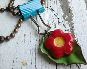 Tiny Bouquet- ceramic red flower. spring green enamel leaf. blue paper clip. colorful floral jewelry. mixed media necklace. Jettabugjewelry