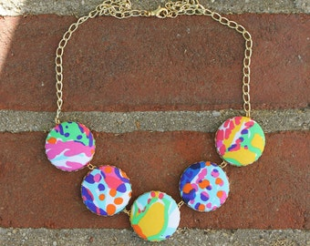 "Lilly Pulitzer ""Fishing For Compliments"" Fabric Covered Button Necklace"