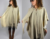 Vintage Oversized Poncho Cape with SCARF and FRINGES Open Construction Warm Wool Ethnic Tribal Southwestern 1 size fits most