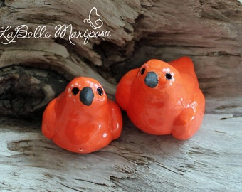 Orange Love Birds, Bird Cake Toppers, Ceramic Birds, Ceramic Love Birds, Wedding Cake Topper, Orange, by Laura Pallatin