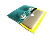 "New Macbook 12""/ Macbook Air 11 inch Case / Macbook Air 13 inch/ MacbookPro Case/ MacBookPro 13""/15""- Case Organiser  -Teal Blue & Yellow"