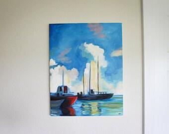 Original Ocean Boat Oil Painting