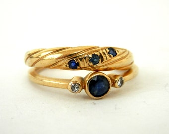 pair 10K Gold Blue Sapphire Stacking Rings retro 80's size 6
