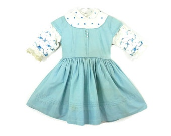 1950s Girl's Party  Dress Pale Blue Cotton Peter Pan Cllar and Embroidered Sleeves