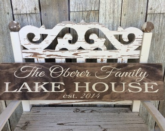 CUSTOM -STAINED- Lake House Sign (5.5in x 24in) - Home Decor - Perfect Gift