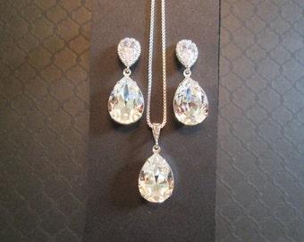 Large Swarovski Clear Crystal Bridesmaid Set/ Bridesmaid Jewelry Set/ Clear Swarovski Earrings/Wedding Jewelry/Bridesmaid Earrings/Bridal