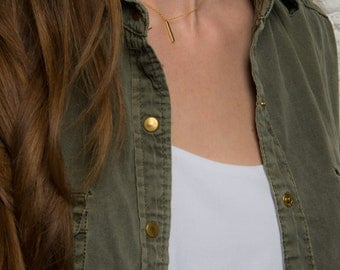 Minimalist necklace. Dainty Bar Necklace. Bar stick necklace. Gold plated bar necklace. Chain Necklace. Layered necklace