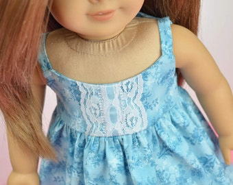 "Feminine Blue Sundress Dress with Lace Trim  ~ fits 18"" American Girl Dolls"