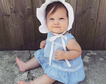 White Bonnet, baby girls sun hat, Shelby Jane, size newborn,0-6 months 6-12 months 2t 3t, photoshoot, coming home outfit