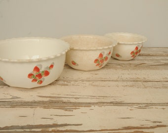 Vintage Cavitt Shaw Mixing Bowls Set of 3 Strawberry Shortcake MADE IN USA