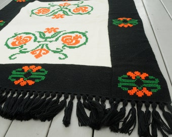 Handmade Crocheted Afghan Cross Stitch Black Orange Green