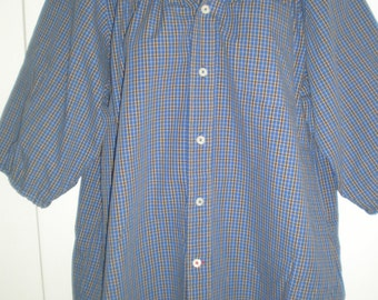 Peasant Blouse with 3/4 sleeves, elastic neck,  upcycled from a men's shirt 50 inch XL, royal blue plaid