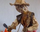 Unique Paper Mache Drummer Figural - Global Figurine - Cultural Sculpture - Ethnic - World - Vintage Home Decor