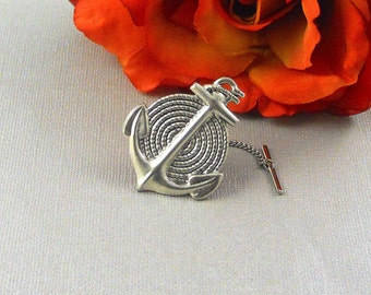 Anchor Tie Tack Nautical Neo Map Steampunk Tie Tack Antique Silver Anchor Men's Gifts Father's Day Gift
