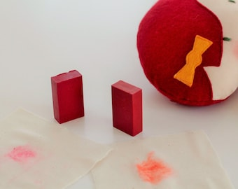 Crayon, Cheek rouge,  for making rosy cheeks on dollies, natural beeswax crayon, choose from 2 different colours