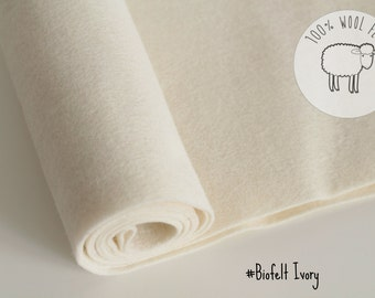"Pure wool felt, ivory/ecru/off white 100% wool felt band 20cm by 91cm (9"" x 36""), 1 - 1,5mm - Ships from Ireland"